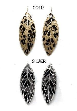 Lepoard Leaf dangle earrings