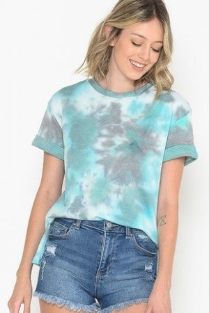 HAILEY-TIE DYE SIZE SLIT SHORT SLEEVE TOP