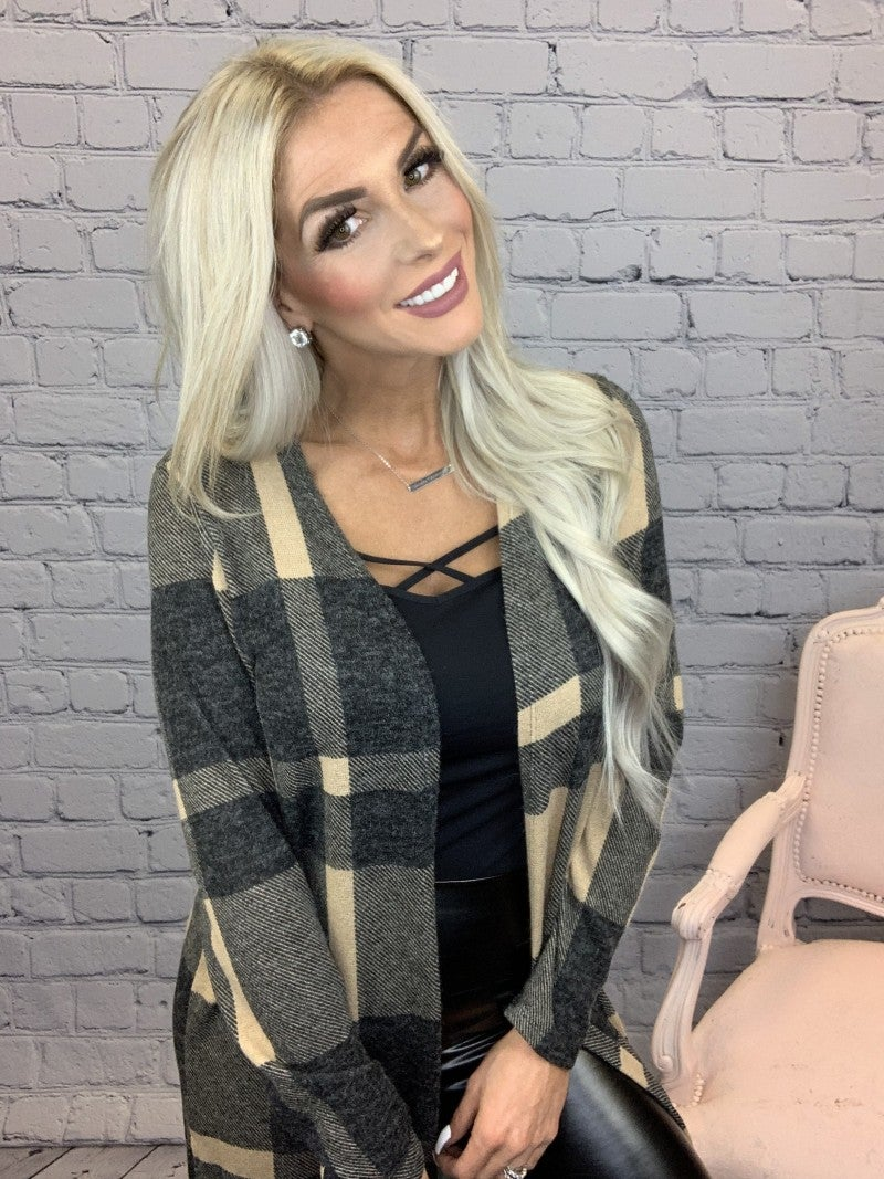 Honeyme-Plaid long cardigan with side slits