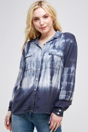 URBAN X-Tie Dye Buttoned Down Collared Long Sleeve Blouse