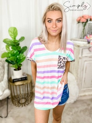 HONEY ME-Striped And Leopard Print Shirt With Front Pocket