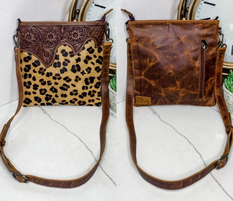 AMERICAN DARLING-CHEETAH PRINT PURSE WITH LEATHERWORK DETAIL