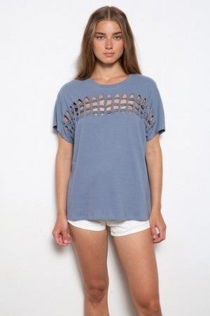 MITTOSHOP-TERRY BRAID CUTOUT FRONT KNIT TOP