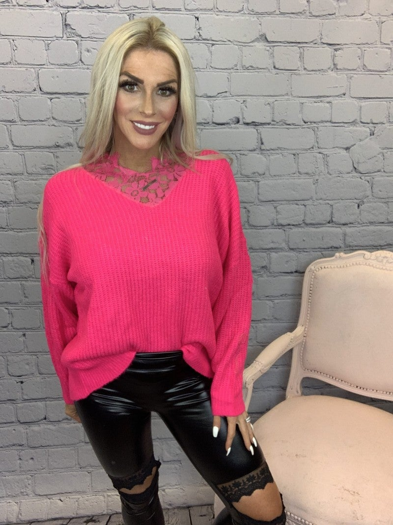Davi & Dani- Long sleeve sweater with lace neck detail