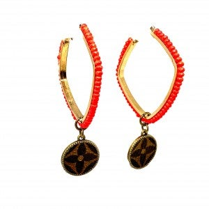LV Up-Cycled Orange Beaded Square Hoop Earrings