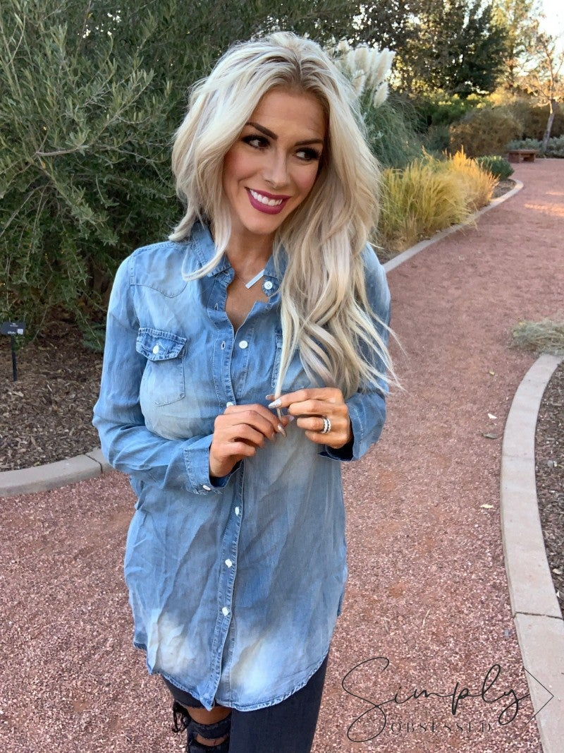 BD Collection- Long sleeve denim tunic dress with pockets