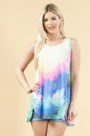 AVERY-Tie Dye Print Front Detail Sleeveless Rayon Top