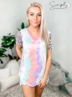 HONEY ME-Tie Dye Knit Top With Neon Pink Neck Band And Leopard Print