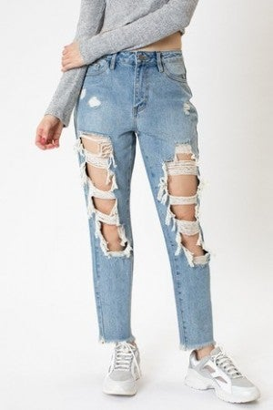 NATURE-DISTRESSED FRONT JEANS