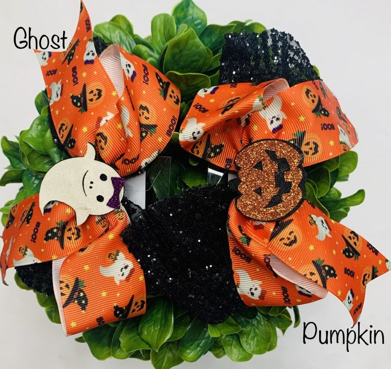 Funteze- Halloween theme bow hair clip (5.91 inches long)