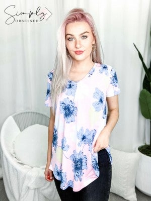 Sew In Love - Short sleeve v neck floral print top(plus)