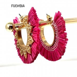 Unique Fuchsia hoops with gold