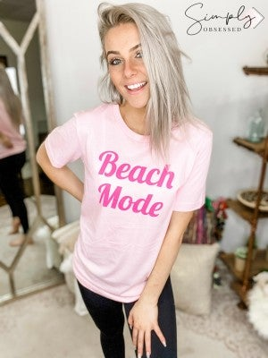 """Beach Mode"" print short sleeve top(plus)"