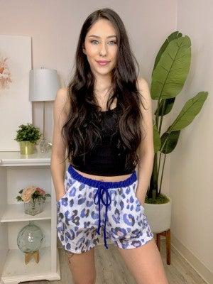 White Birch - Cheetah print shorts with adjustable drawstring