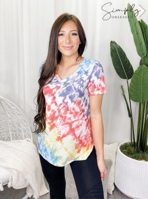 Honeyme - Tie dye short sleeve v neck top(plus)