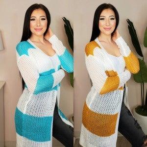 Doe & Rae - Striped Sweater Cardigan