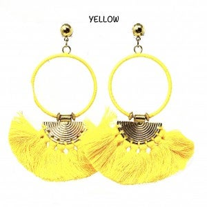 Bohemian Hoop Earrings with Fan Tassle