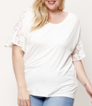 American Fit - Solid scoop neck lace detail top
