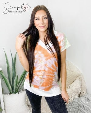 Honeyme - Short sleeve v neck tie dye knit top(plus)