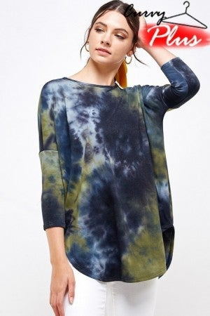 CREAM N SUGAR-Tie Dye French Terry Round Neck Tunic Top