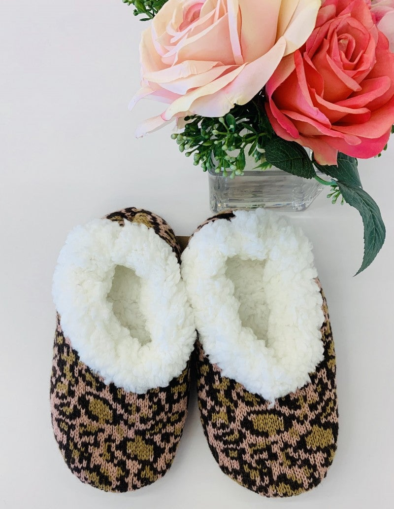 Urbanista- Cheetah print slipper with cushioned non-slip sole and micro-fiber lining