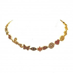 Gold Choker Necklace with Iconic Charms