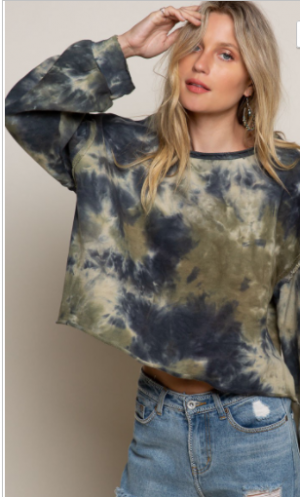 Pol - Semi crop tie dye print sweater