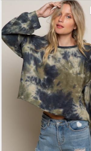 Pol - Semi crop tie dye print sweater