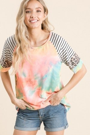TREND SHOP-Stripe Tie Dye Leopard Mix Print Top