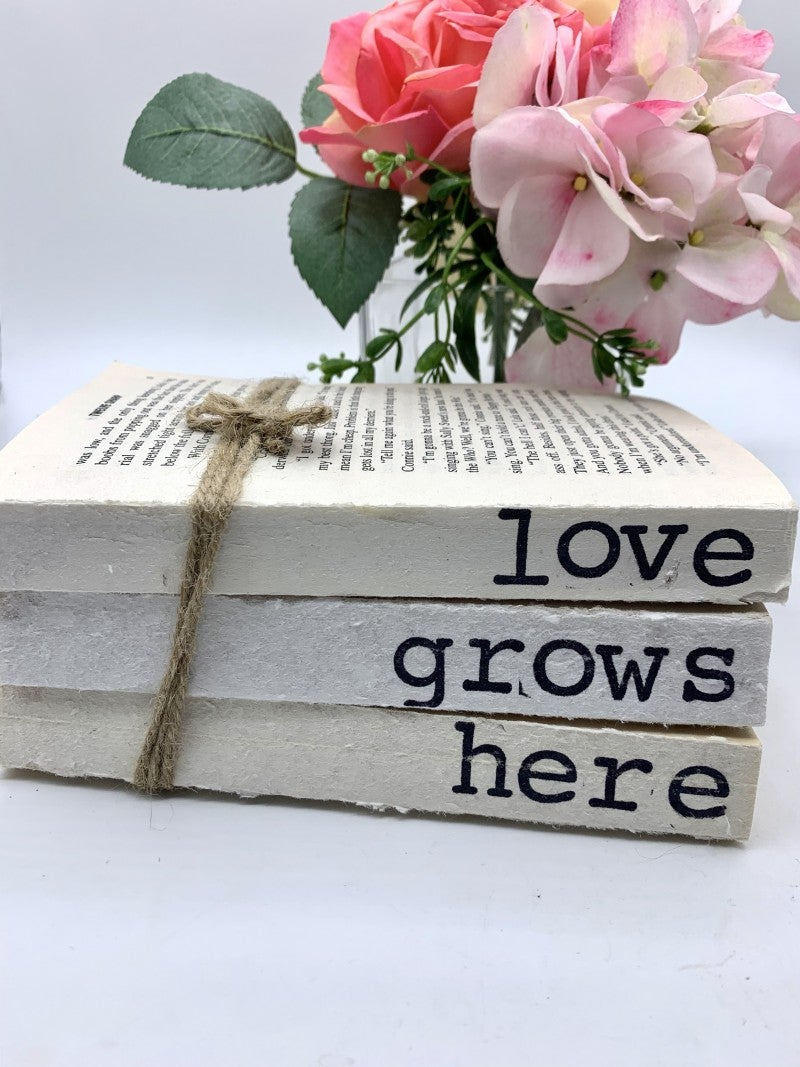 "Home decor books "" love grows here"""