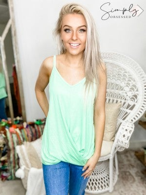 Luna - Solid Jersey Twisted Front Bottom Spaghetti Strap V neck Cami Top