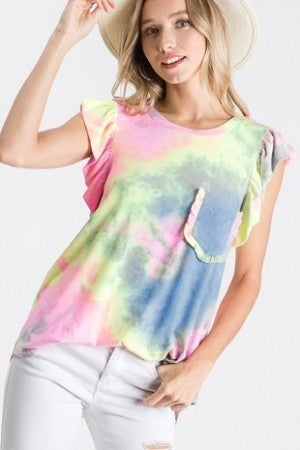 Heimish - Short Ruffled Sleeve Neck Tie Dye Print Top with Pocket Detail