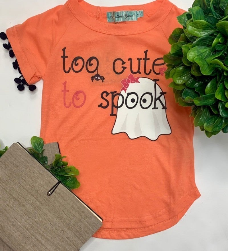 Southern Grace Apparel - Girls too cute to spook on tee with pom trim