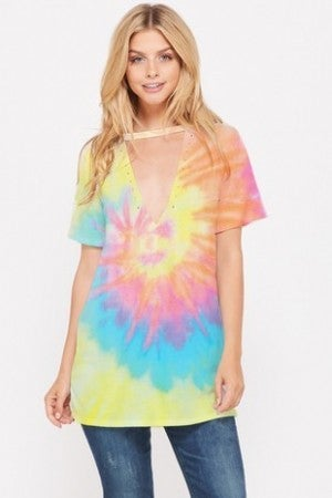 PHIL LOVE-Tie dye choker neck short sleeve top