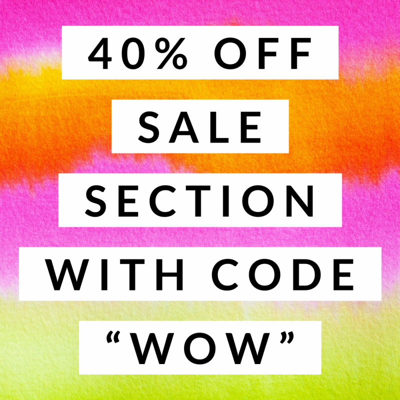 "40% OFF SALE section with the code ""WOW"" at checkout + FREE SHIPPING"