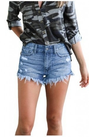HEY SAMY-Stretch Denim Short with Tassel