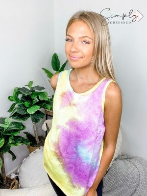 White Birch - Round neck sleeveless tie dye top(plus)