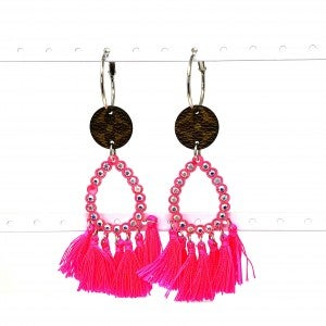 LV Up-Cycled Hot Pink Tassle Teardop Earrings
