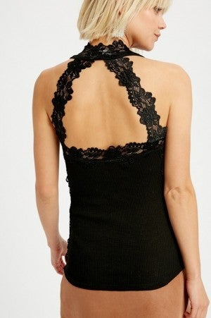 TREND SHOP-Halter Neck Ribbed Camisole Lace Top