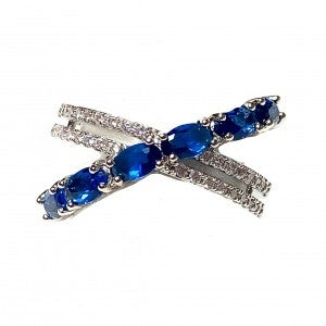 Blue Crossed CZ Ring