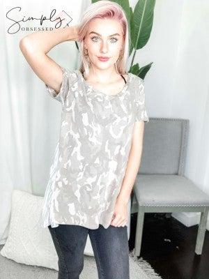 Sew In Love - Camo print short sleeve v neck top(plus)