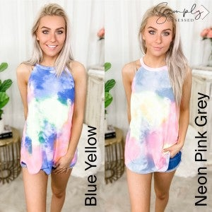 BIBI-Tie Dye Print Jersey Halter Neck Top