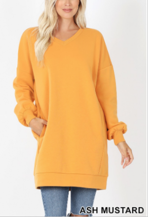 Oversized v neck long sleeve sweater(plus)