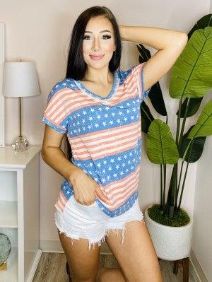 Honeyme - Short sleeve v neck stars and stripes print top(plus)