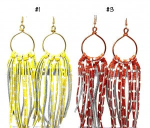 Emerge Large Leaf Earring with Fringe and Chain