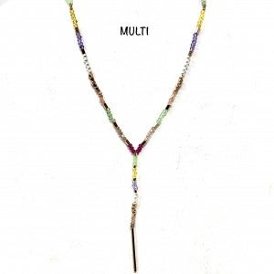Light Multi Beaded Y Necklace w/Gold Bar Detail