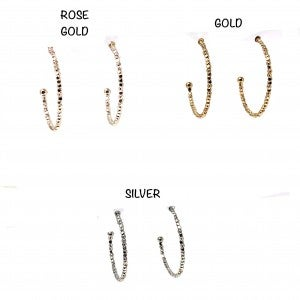 Simple Gold Medium Size Studded Hoops