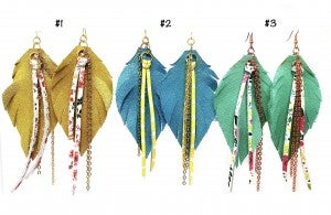 Emerge  Feather Earrings with Fringe and Chain