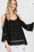 Black cold shoulder solid top with lace detail