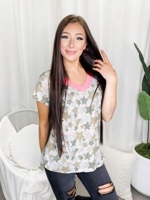 Honeyme - French Terry V neck top